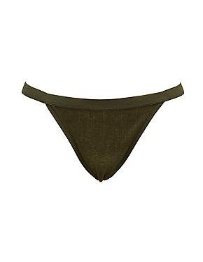 Plus Size Ribbed Bikini-Cut Panties