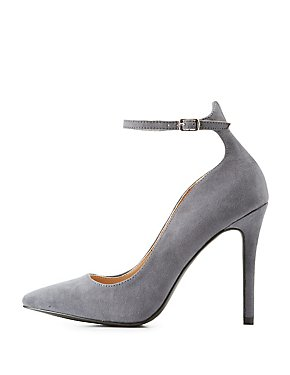Qupid Ankle Strap Pointed Toe Pumps