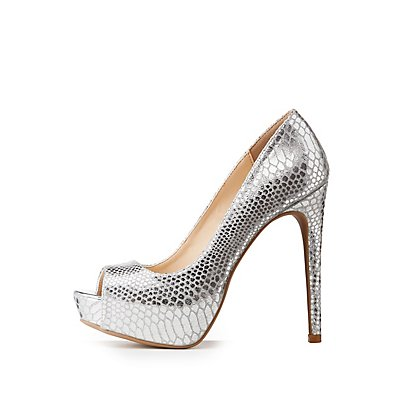 Metallic Faux Snakeskin Platform Pumps
