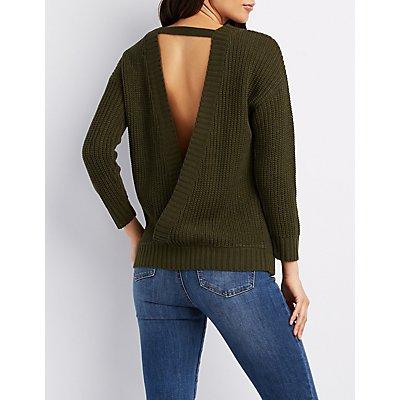 Open-Back Shaker Stitch Sweater