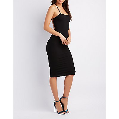 Ribbed Caged Back Bodycon Dress