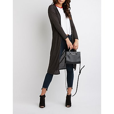Open-Front Hooded Duster Cardigan