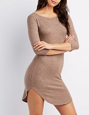 Hacci Crew Neck Bodycon Sweater Dress