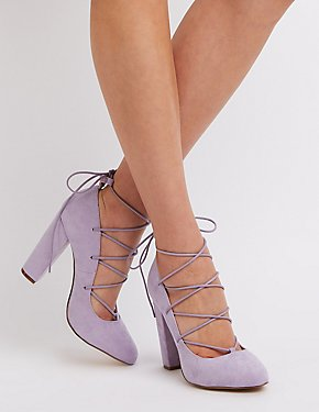 Lace-Up Block Heel Pumps