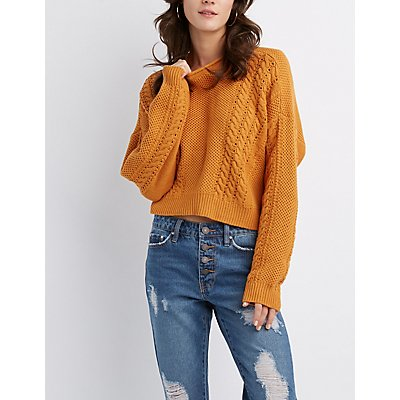 High-Low Cropped  Pullover Sweater