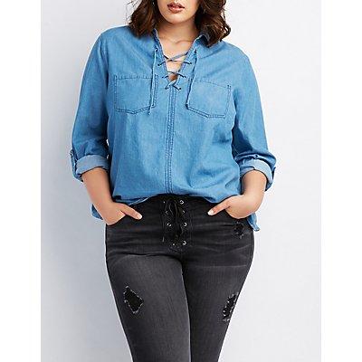 Plus Size Chambray Lace-Up Pocket Shirt