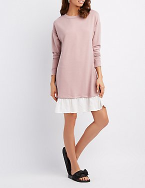 Drop-Waist Shift Sweater Dress