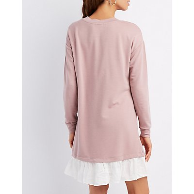 Drop-Waist Shift Sweater Dress