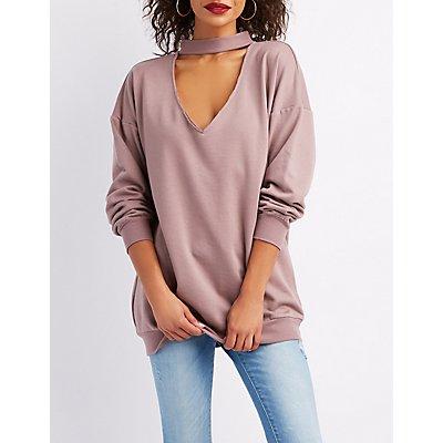 Choker Neck Longline Pullover Sweatshirt