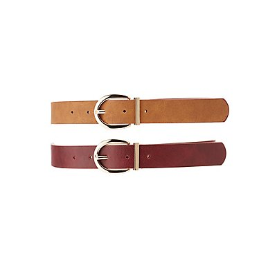 Plus Size Stamped Faux Leather Belt