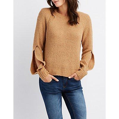 Split Sleeve Pullover Crop Top
