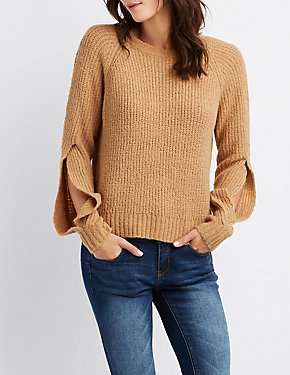 Split Sleeve Pullover Crop Top