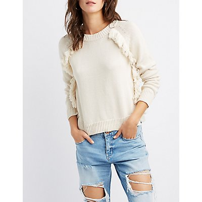 Fringe-Trim Pullover Sweater