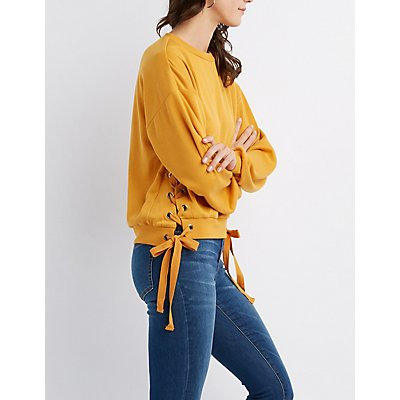 Lace-Up Detail Pullover Sweatshirt