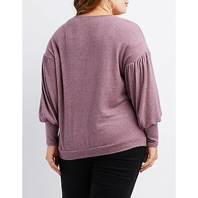 Plus Size Balloon Sleeve Top