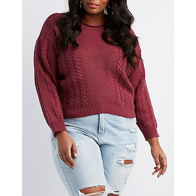 Plus Size Mixed Knit High-Low Sweater