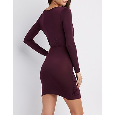 Ruched Surplice Bodycon Dress