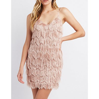 Fringe V-Neck Bodycon Dress