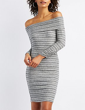 Striped Hacci Off-The-Shoulder Bodycon Dress