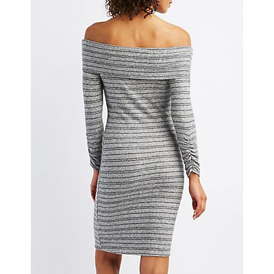 Striped Hacci Off-The-Shoulder Bodycon Dress