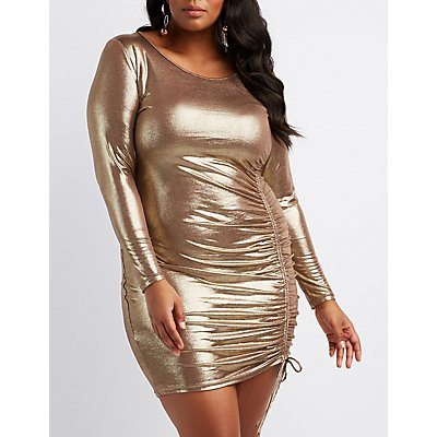 Plus Size Ruched-Side Bodycon Dress