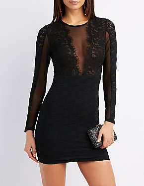 Lace & Mesh Combo Bodycon Dress