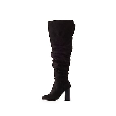 Bamboo Ruched Over-The Knee Boots