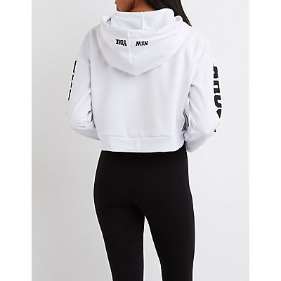 Brooklyn Graphic Cropped Hoodie