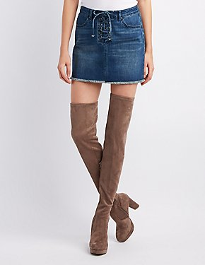 Bamboo Faux Suede Platform Over-The-Knee Boots