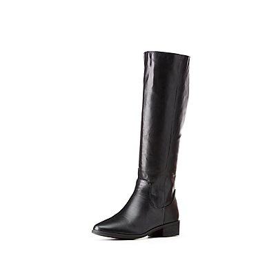 Bamboo Faux Leather Riding Boots