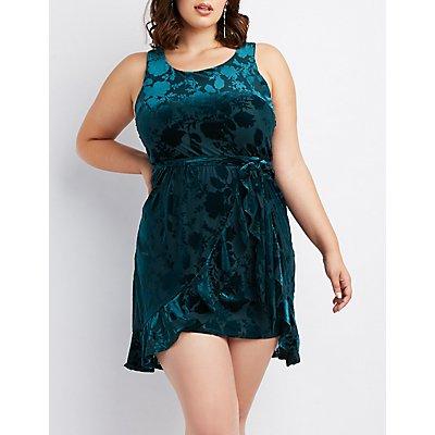 Plus Size Velvet Burnout Skater Dress