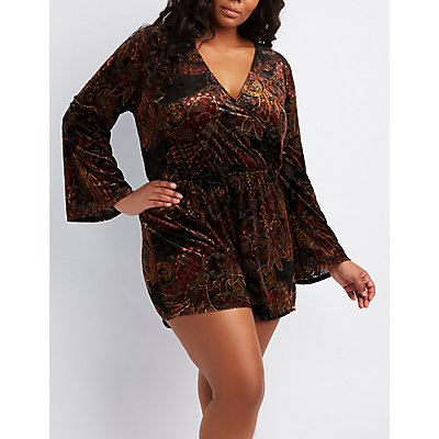 Plus Size Flocked Velvet Surplice Romper