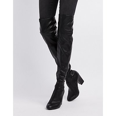 Bamboo Faux Leather Over-The- Knee Boots