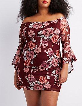 c384b179a51 Plus Size Floral Off-The-Shoulder Bodycon Dress