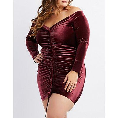 Plus Size Velvet Off-The-Shoulder Ruched Dress