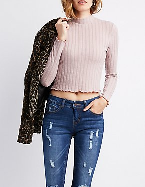 Mock Neck Lettuce Trim Crop Top