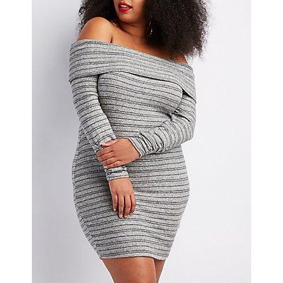 Plus Size Hacci Off-The-Shoulder Bodycon Dress