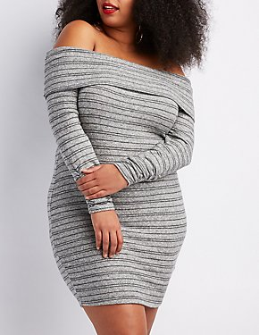 Plus Size Hacci Off-The-Shoulder Bodycon Dress