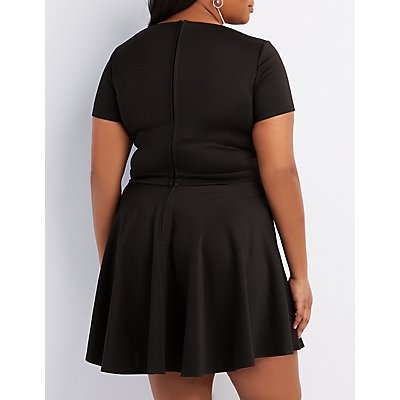 Plus Size Plunging Notched Skater Dress
