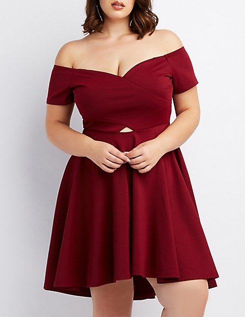 Plus Size Wrapped Off The Shoulder Skater Dress Charlotte Russe