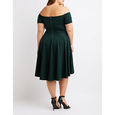 Plus Size Wrapped Off-The-Shoulder Skater Dress