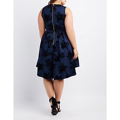 Plus Size Flocked Velvet Notched Skater Dress