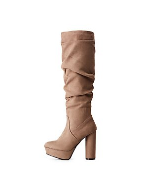 Bamboo Faux Suede Ruched Platform Boots