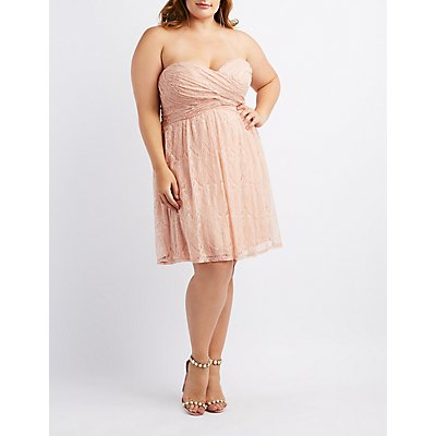 Plus Size Strapless Lace Dress