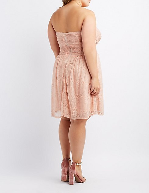 Plus Size Strapless Lace Dress Charlotte Russe