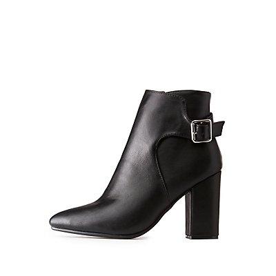 Bamboo Faux Leather Buckle Booties