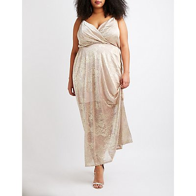 Plus Size Metallic Surplice Maxi Dress