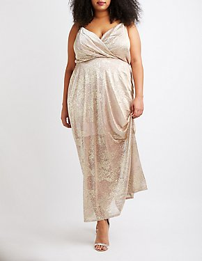 Plus Size Metallic Surplice Maxi Dress