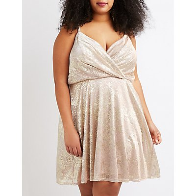 Plus Size Metallic Surplice Skater Dress