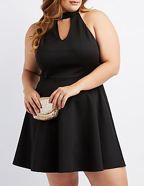 Plus Size Mock Neck High-Low Skater Dress